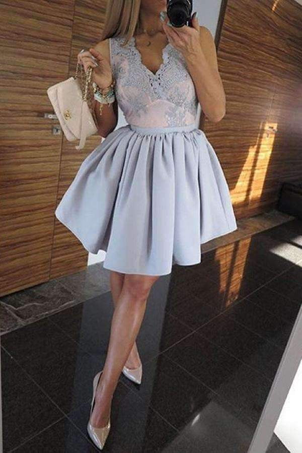 A Line Deep V Neck Sleeveless Homecoming Dress,Appliques Short/Mini Prom Dress H238