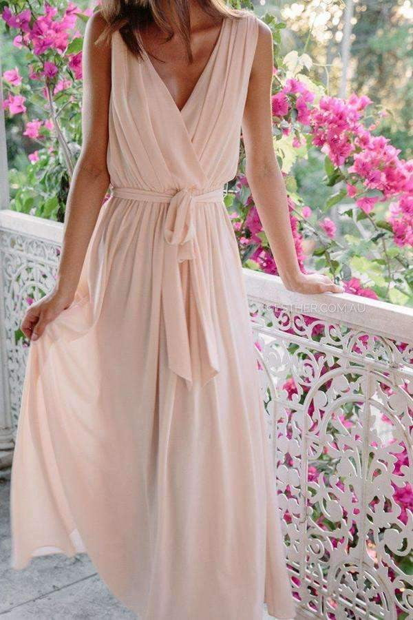 A Line Floor Length Deep V Neck Sleeveless Chiffon Bridesmaid Dresses B205