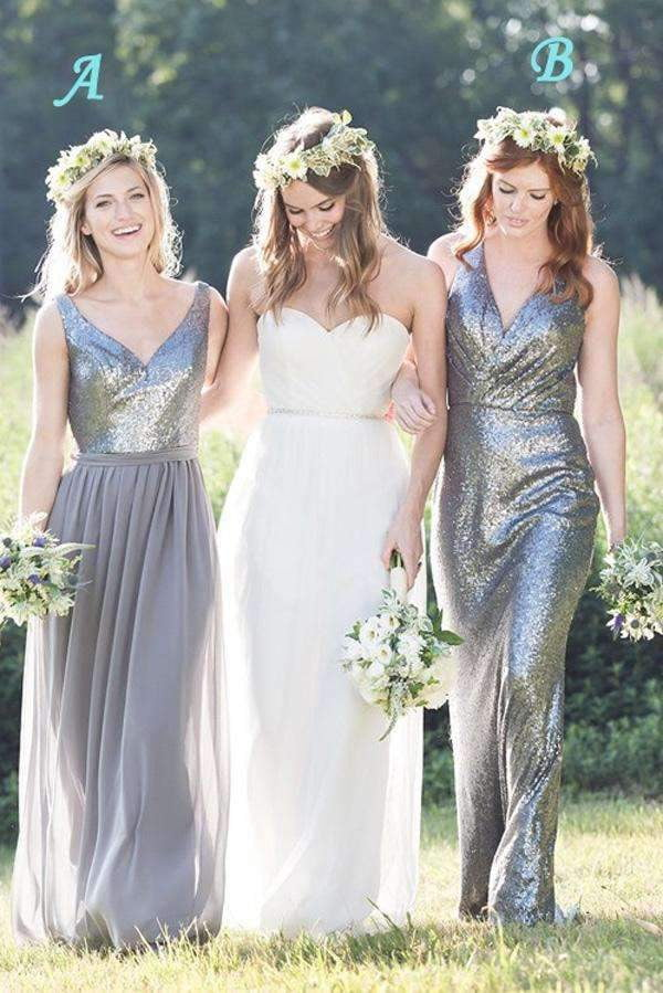 A Line Floor Length Deep V Neck Sleeveless Spakle Bridesmaid Dresses B281