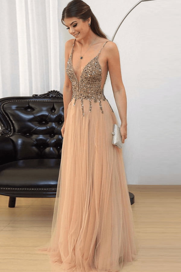 A Line Floor Length Deep V Neck Straps Sleeveless Layers Tulle Prom Dress,Party Dress P397
