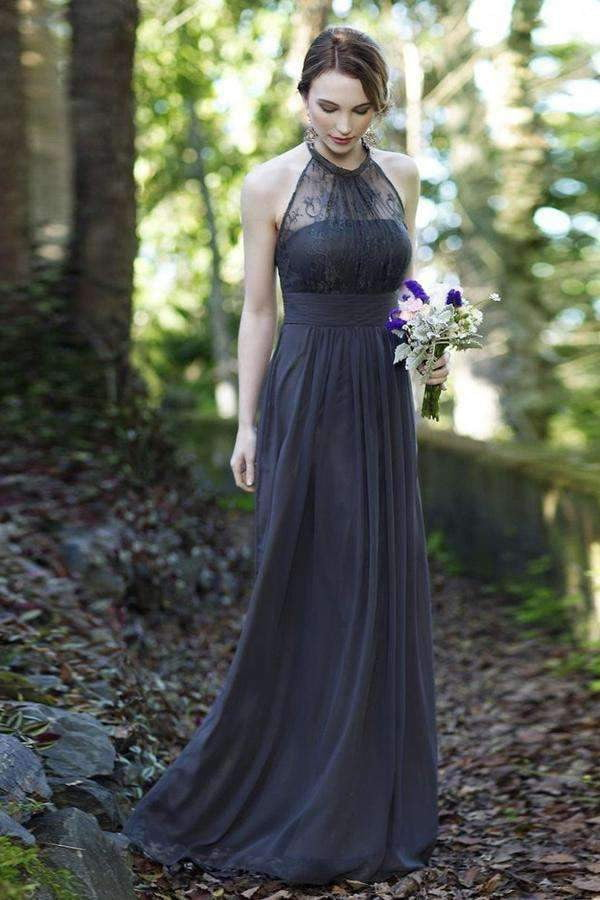 A Line Floor Length Halter Sleeveless Lace Bridesmaid Dress, Wedding Party Dress B311