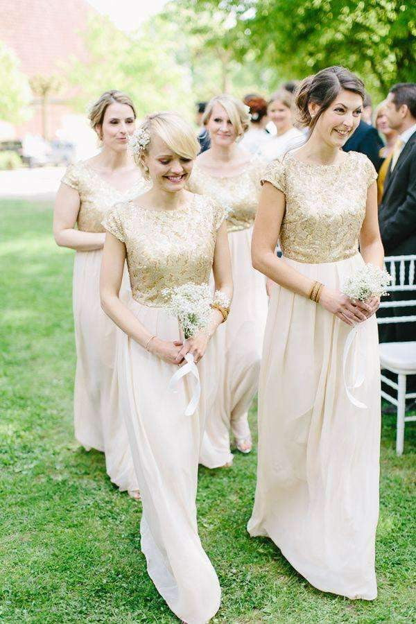 A Line Floor Length Jewel Neck Capped Sleeve Sparkle Bridesmaid Dress B240