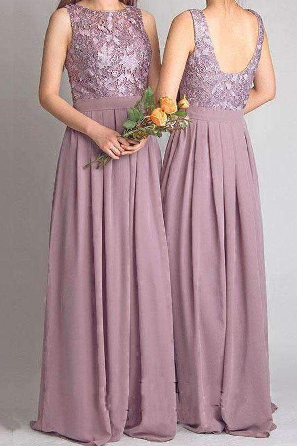 A Line Floor Length Jewel Neck Sleeveless Open Back Appliques Bridesmaid Dress B213