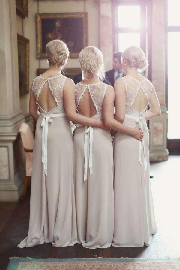 A Line Floor Length Sheer Neck Sleeveless Keyhole Back Chiffon Bridesmaid Dress B253