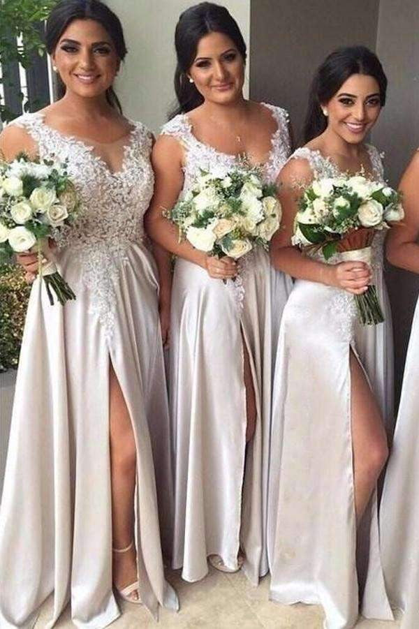 A Line Floor Length Sleeveless Side Slit Appliques Bridesmaid Dress, Wedding Party Dress B314