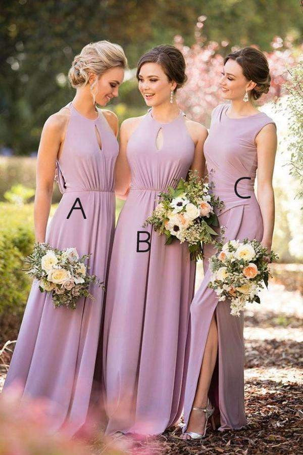 A Line Floor Length Sleeveless Side Slit Simple Bridesmaid Dresses B210