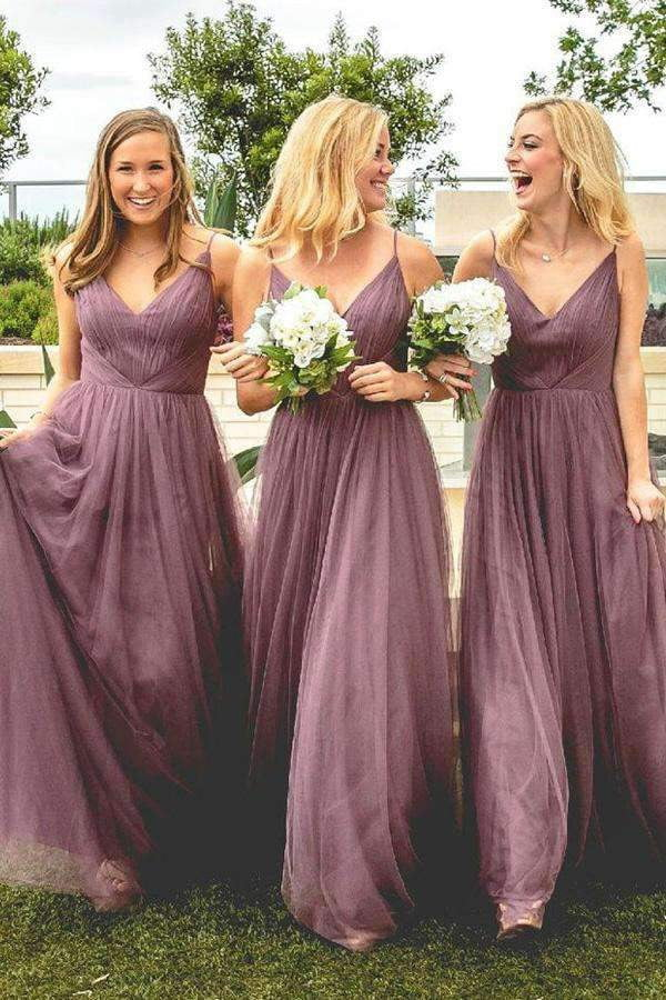 A Line Floor Length Spaghetti Sleeveless Tulle Bridesmaid Dress, Wedding Party Dress B342