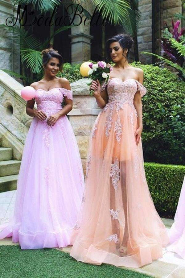 A Line Floor Length Sweetheart Off Shoulder Appliques Bridesmaid Dress B284