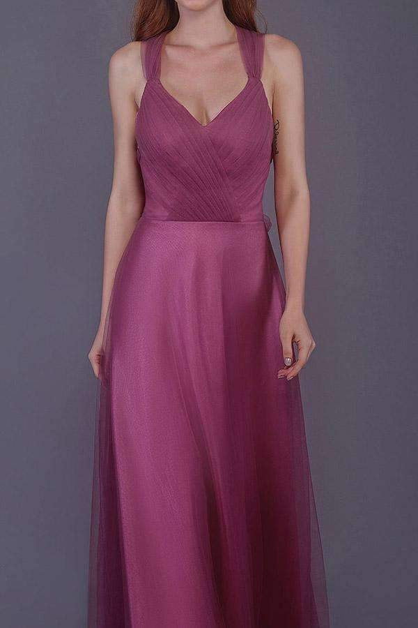 A Line Floor Length Sweetheart Sleeveless Layers Bridesmaid Dress,Wedding Party Dress B336