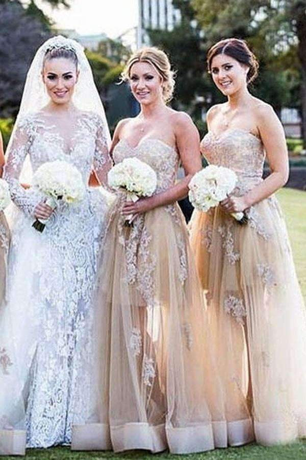 A Line Floor Length  Sweetheart Strapless Appliques Bridesmaid Dress B301