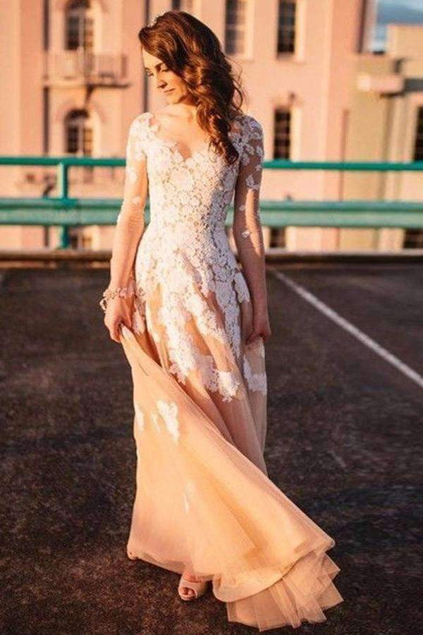 A Line Floor Length V Neck Long Sleeve Layers Appliques Prom Dress,Party Dress P431