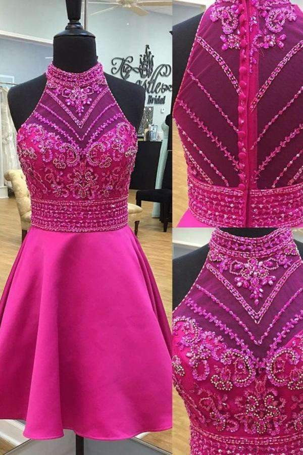 A Line Halter Bodice Homecoming Dresses, Sleeveless Appliqued Beaded Short Prom Dress HCD54