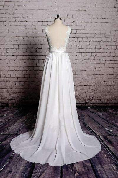 A-line Lace Chiffon V-Neck Backless Sheath Long Wedding Dress W28