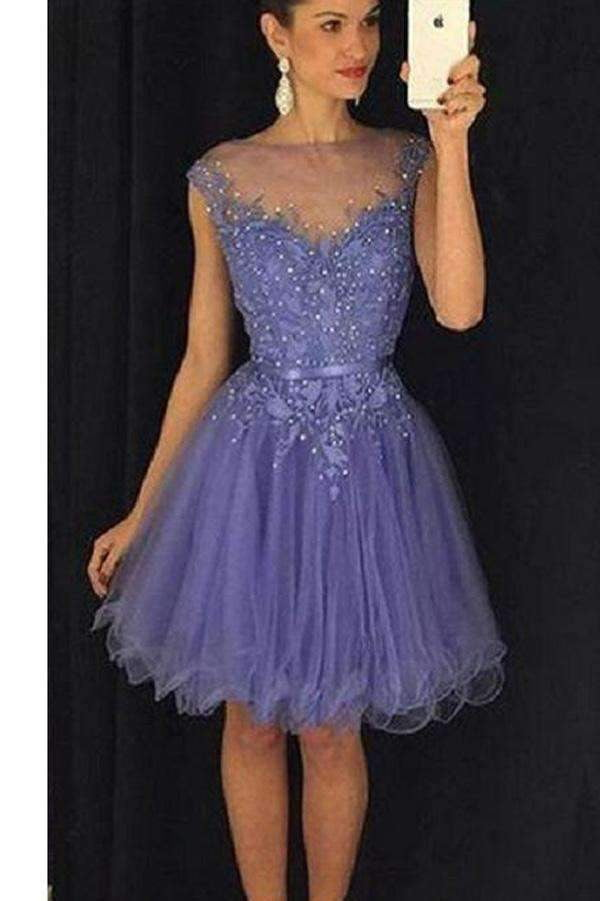 A Line  Lace Homecoming Dresses, Modest Sheer Appliqued Beaded Short Prom Dress HCD45