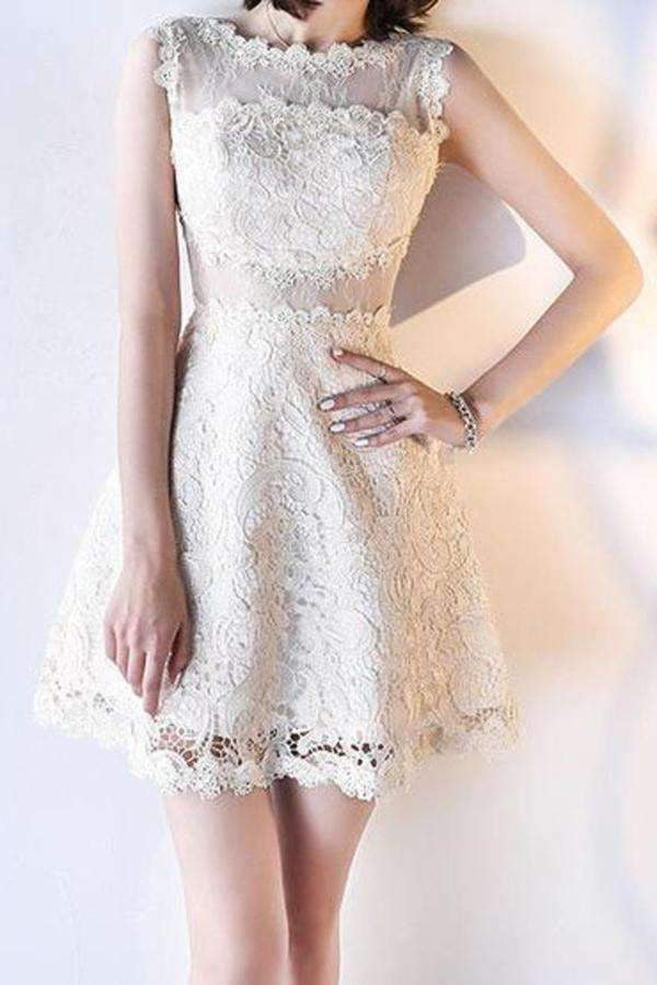 A Line Lace Round Neck Short Knee Length Homecoming Dress M496