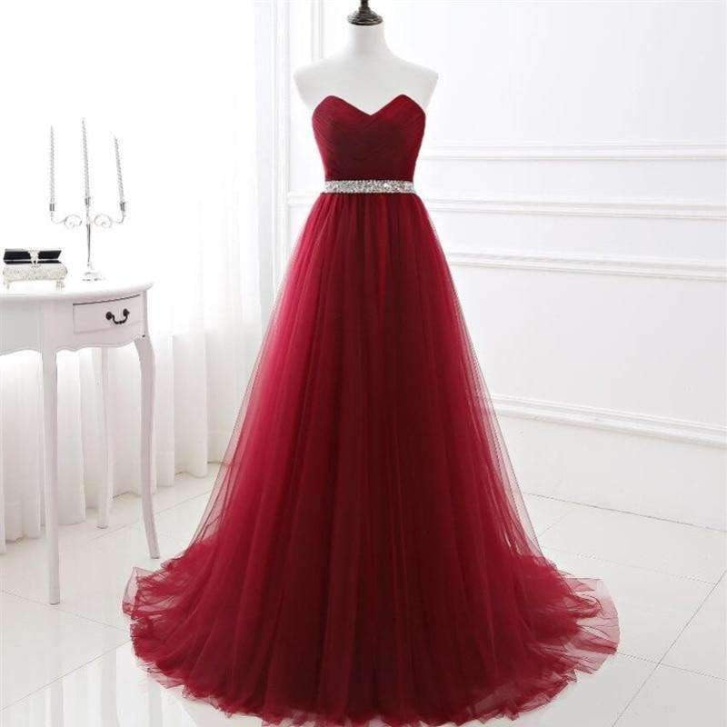 Burgundy A-line Pleated Tulle Ball Gown Sweetheart Crystal Beading Sash Tulle Court Train wedding Occasion dresses for bridal
