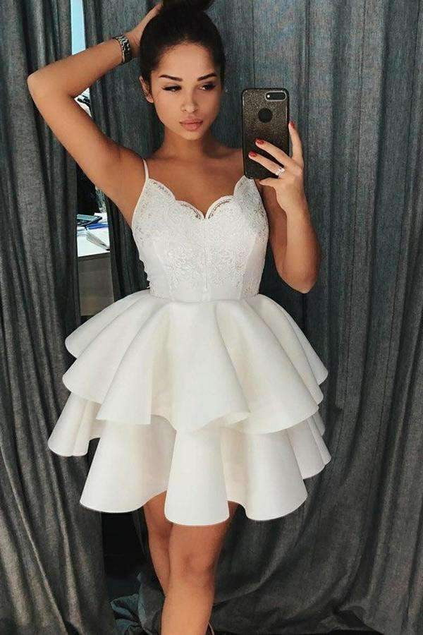 A-Line Spaghetti Straps Lace Short Layers Satin Homecoming Dress, Party Dress P597