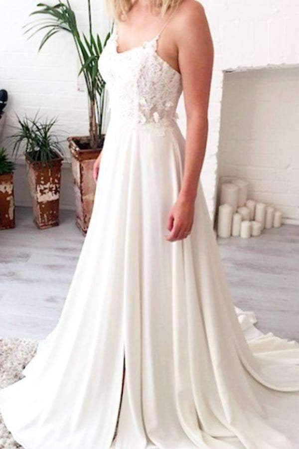 A Line Sweetheart Spaghetti Side Slit Appliques Wedding Gown,Beach Wedding Dress W146
