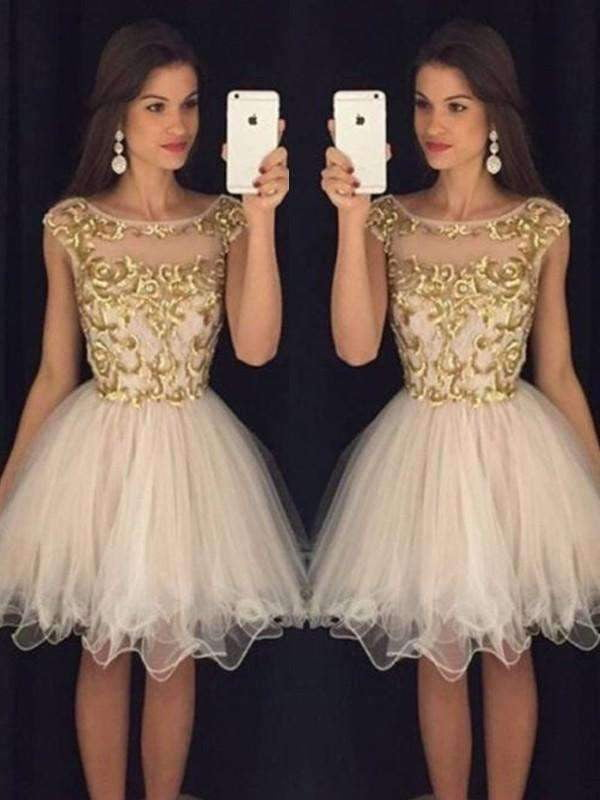 A-Line Tulle Sleeveless Scoop Homecoming Dresses with Paillette M289