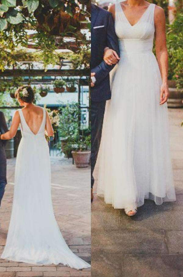A Line V Neck Sweep Train Beach Wedding Gowns,Deep V Back Tulle Wedding Dress W97