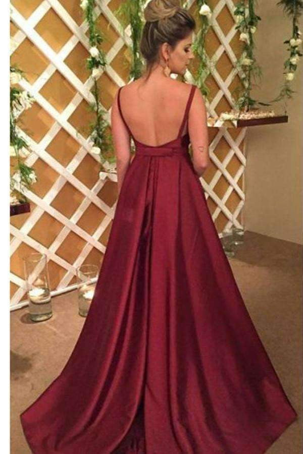 A-Line/Princess Burgundy V-neck Sleeveless Sweep Train Elastic Satin Prom Dress P570