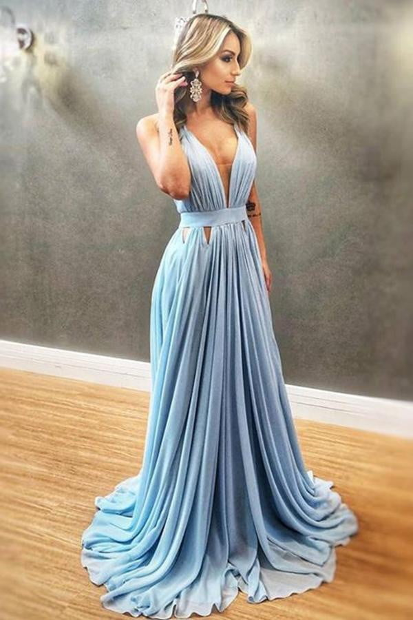 Simple Sleeveless V Neck Prom Dresses Chiffon Long Party Dresses P951