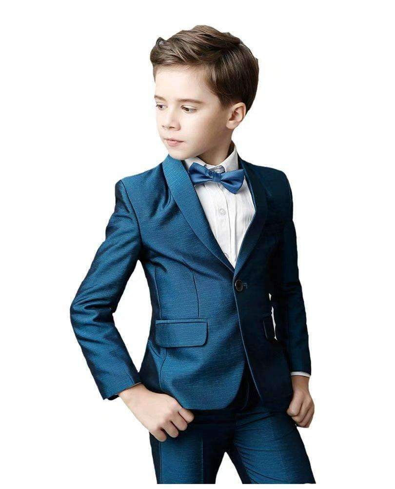 Baby 5-Piece Plaid Suit Formal Dresswear Vest Set with Bow Tie