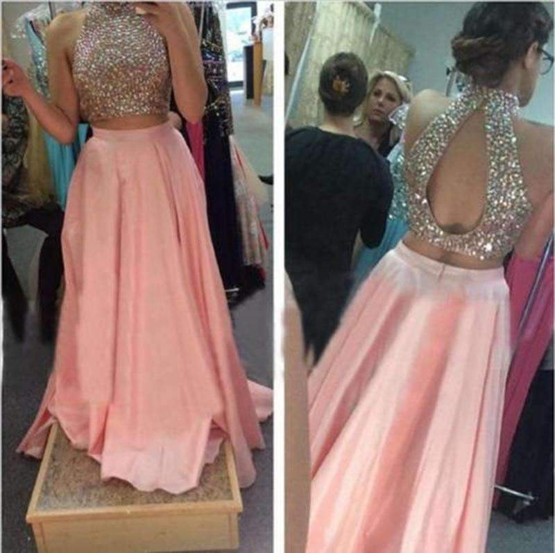 Backless Two Piece Prom Dress 2020 High Neck Stunning Beaded Crystal Floor Length African Blush Long Formal Evening Party Dress