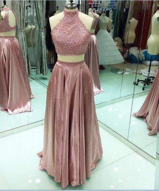Backless Two Piece Prom Dress 2019 High Neck Stunning Beaded Crystal Floor Length African Blush Long Formal Evening Party Dress