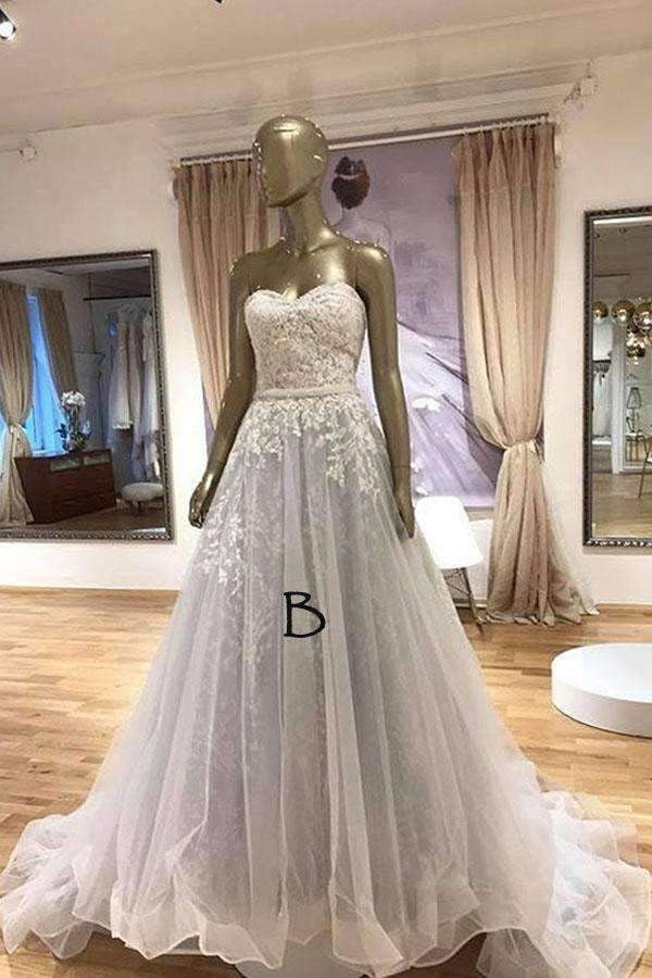 Ball Gown Chapel Train Sweetheart Strapless Sleeveless Applieus Wedding Dress,Wedding Dress W257
