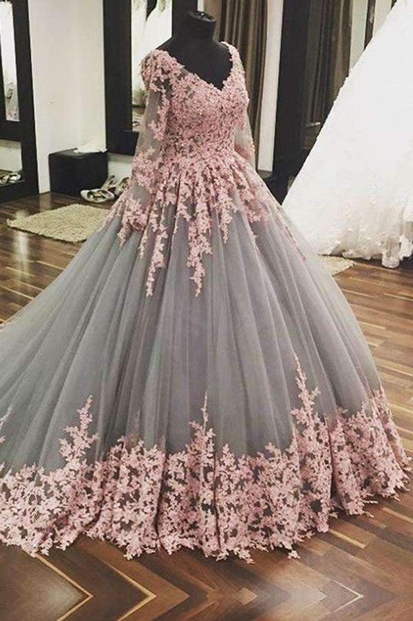 Ball Gown Chapel Train V Neck Long Sleeve Layers Tulle Appliques Prom Dress,Party Dress P394