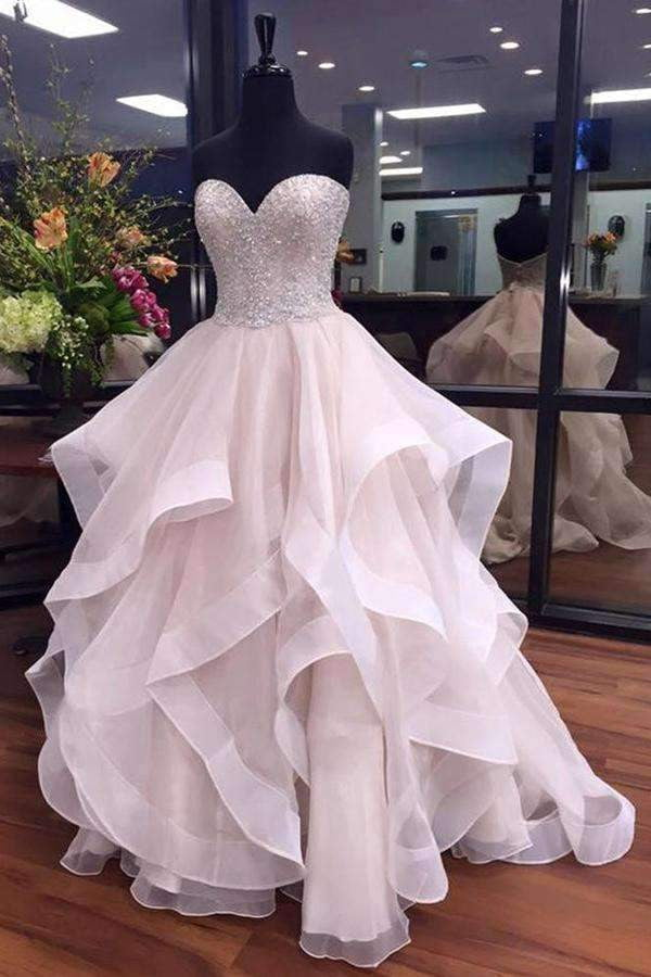 Ball Gown Court Train Sweetheart Strapless Sleeveless Layers Beading Prom Dress,Party Dress P399