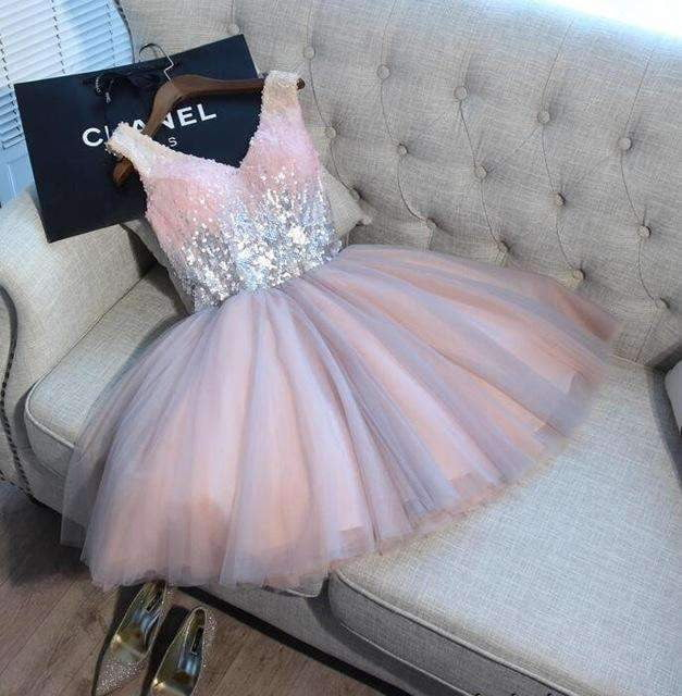 Ball Gown Pink Gray Sequined V-neck Elegant Evening Formal Party Gown