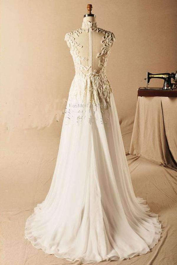 Beach Scoop Prom Dress,beading A-Line Chiffon Prom Gown,Fashion Style Sleeveless prom Dresses