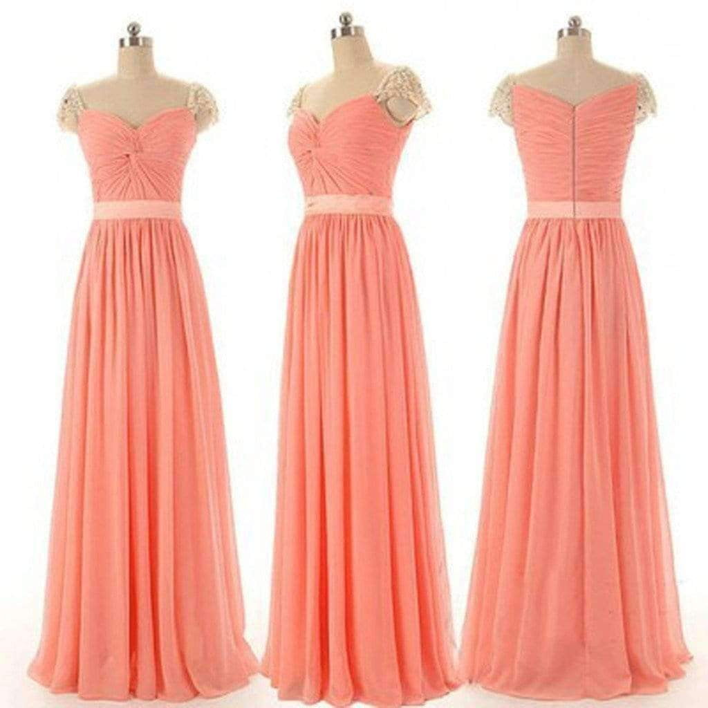 Beading Cap Sleeve Sweetheart V-neck Chiffon A-line Floor length Bridesmaid Dresses, Simple Cheap Prom Dress