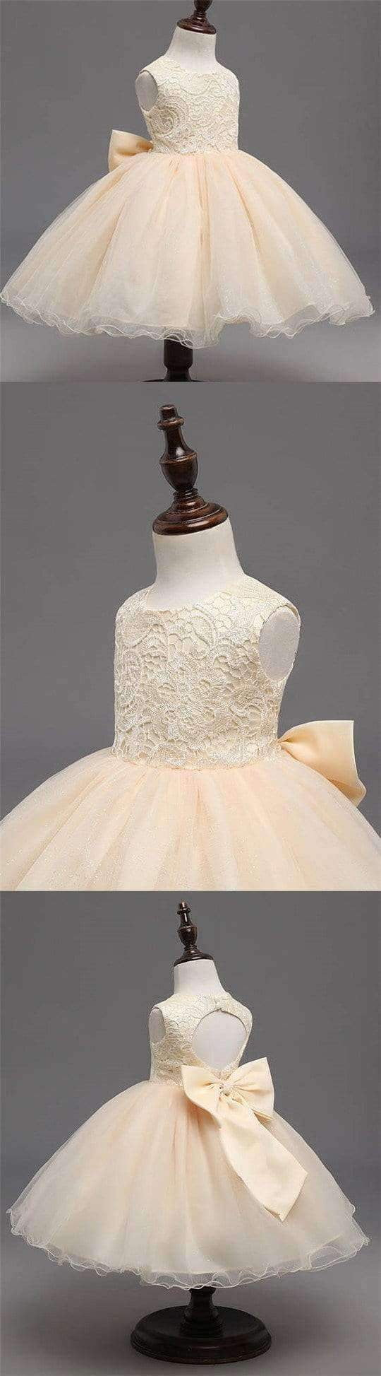 Beige Lace Top Sleeveless Flower Girl Dresses, Popular Tulle Flower Girl Dresses,  FG039