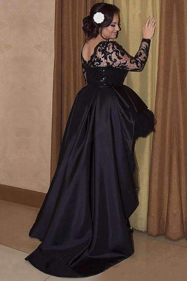 Black A Line Asymmetrical Long Sleeves Scoop Satin Appliques Plus Size Prom Dresses S14