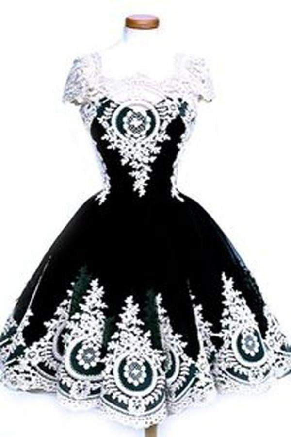Black A Line Homecoming Dress,Classical Princess Ball Gown Beaed Short Prom Dresses HCD67