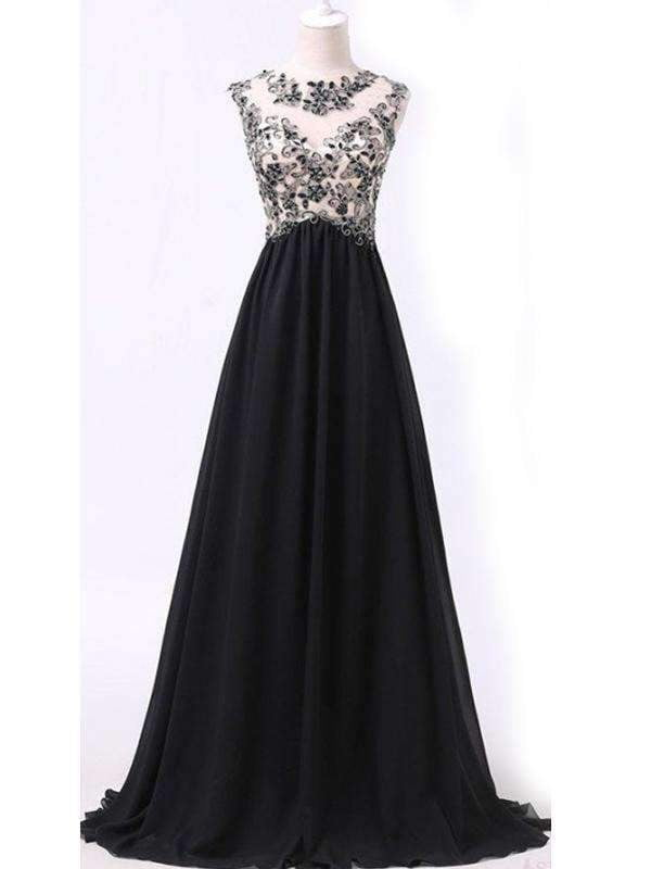 Black Appliques A-line Vintage Unique Formal Modest Long Party Prom Dress. AB1131