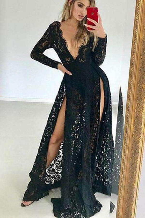 Black Deep V Neck Long Sleeves Lace Prom Dresses Party Dresses P983