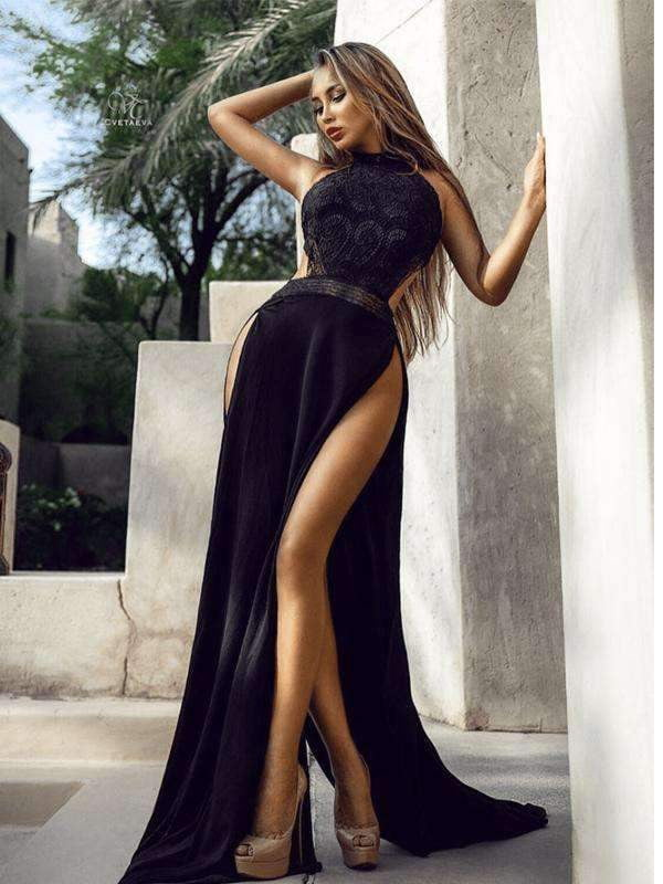 Black Halter Sexy Silt Backless Long Prom Dresses,PD00159