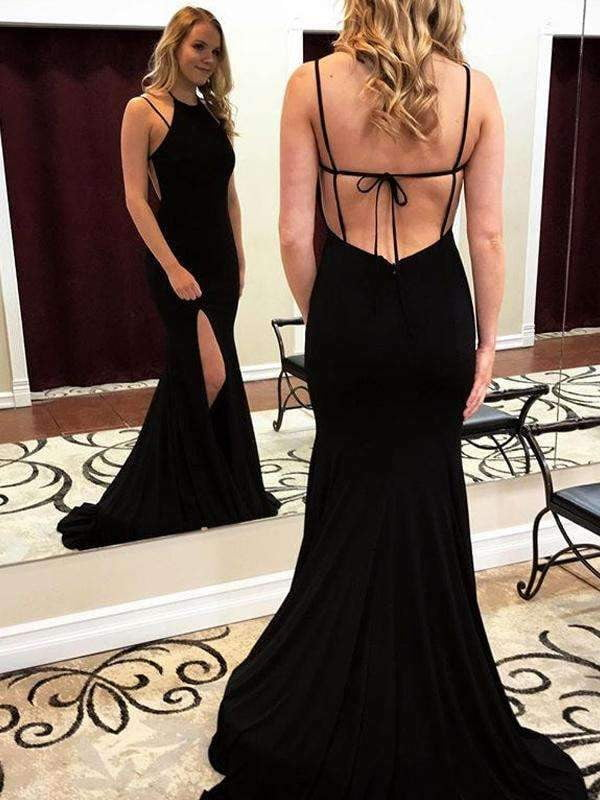 Black Jersey Spaghetti Strap Backless Mermaid Halter Simple Prom Dresses .PD00239