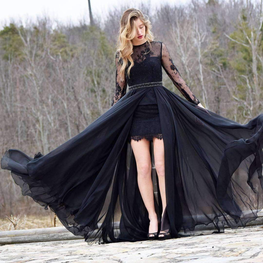 Black Lace Long Sleeve Beaded Sash Sheath Tight Prom Dresses,PD00083