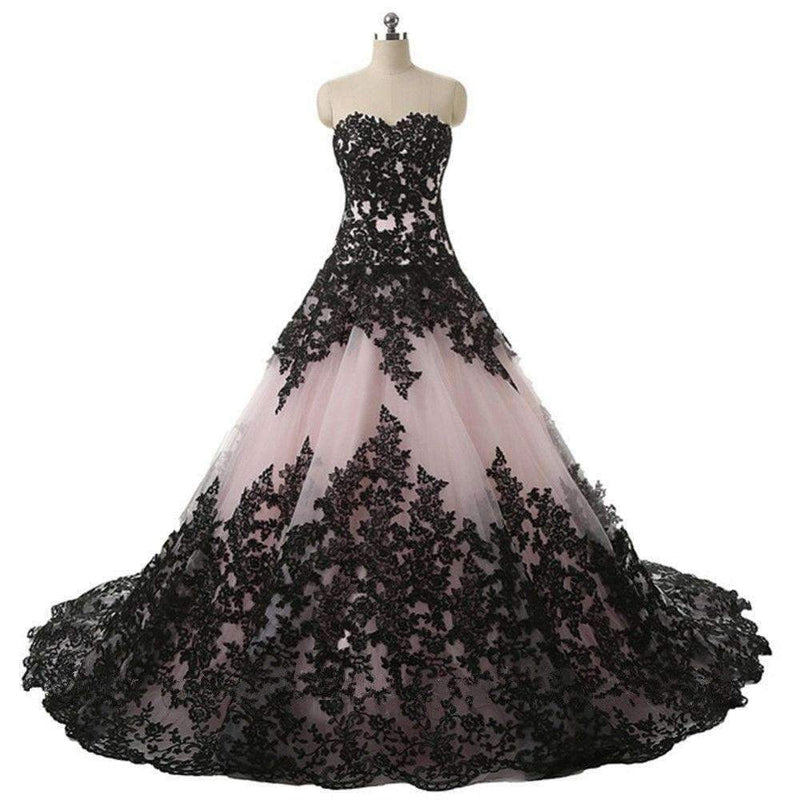 Black Lace Nude Strapless Ball Gown Princess Prom Dresses ,PD00296