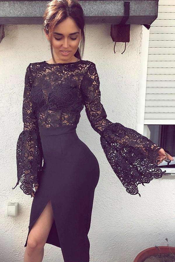 Black Long Horn Sleeves Lace Bodice Split-Side Stretch Satin Short Prom Dress, Party Dress P596