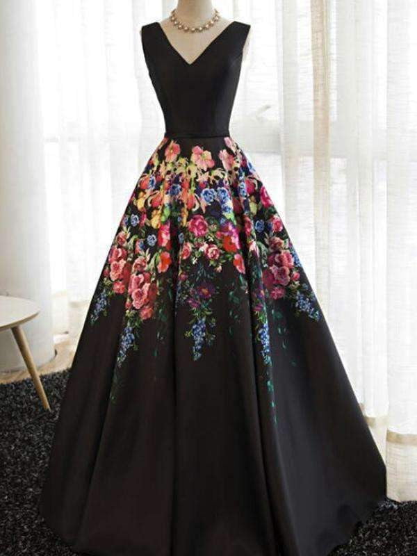 Black Satin Floral Prints Sleeveless Lace Up Back Prom Dresses,PD00295