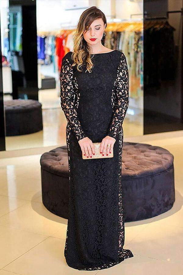 Black Sheath Brush Train Long Sleeve Backless Lace Plus Size Prom Dresses S21