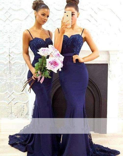 Blue 2019 Cheap Mermaid Spaghetti Straps Lace Beaded Wedding Bridesmaid Dresses