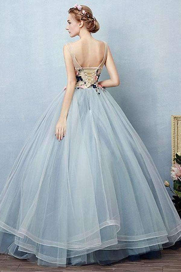 Blue Ball Gown Floor Length Sheer Neck Sleeveless Lace Up Floral Prom Dress,Party Dress P406