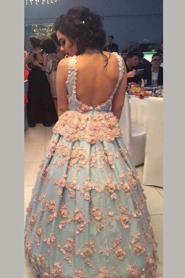 Blue Ball Gown Floor Length V Neck Sleeveless Open Back Floral Long Prom Dress,Party Dress P228
